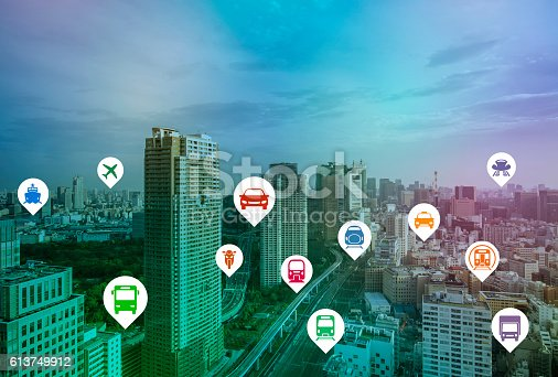 istock modern cityscape and various transportation icons 613749912