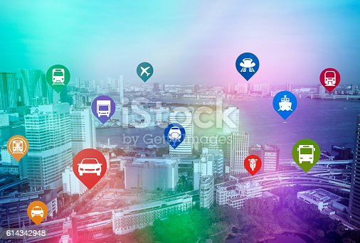 istock modern cityscape and various transportation icons 614342948