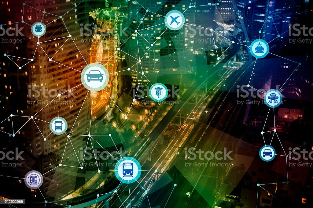 modern cityscape and various transportation network - foto de stock