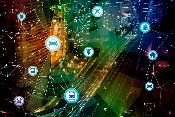 modern cityscape and various transportation network - autos und motorräder stock-fotos und bilder