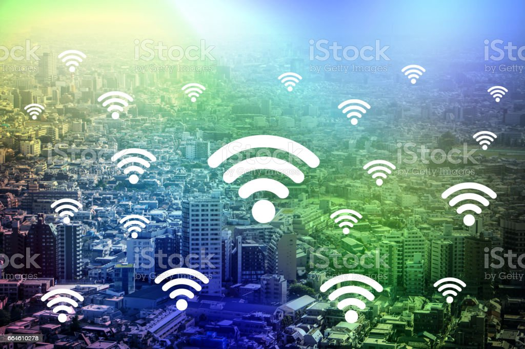 modern cityscape and wireless communication, internet of things, abstract image visual stock photo