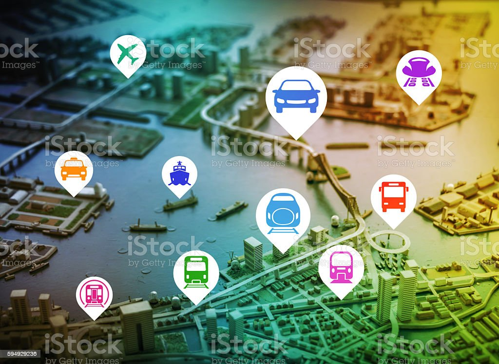 modern cityscape diorama and various public transportation icons stock photo