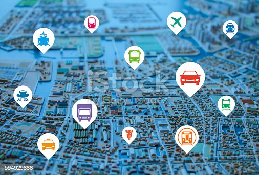 istock modern cityscape diorama  and various transportation icons 594929666