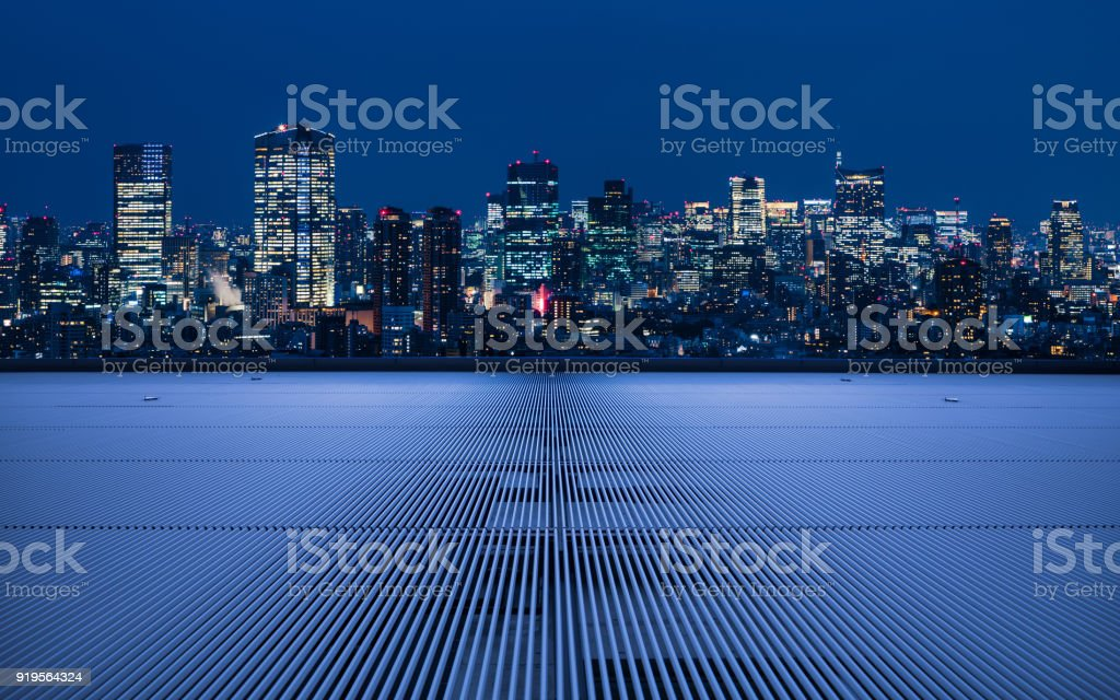 Modern cityscape viewed from observation platform. stock photo