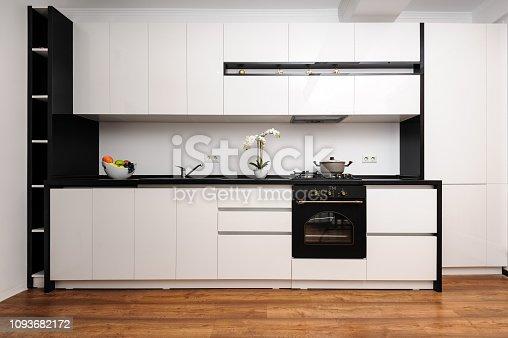 istock Modern classic black and white kitchen 1093682172