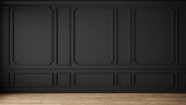 istock Modern classic black empty interior with wall panels and wooden floor. 3d render illustration mock up. 1287405034