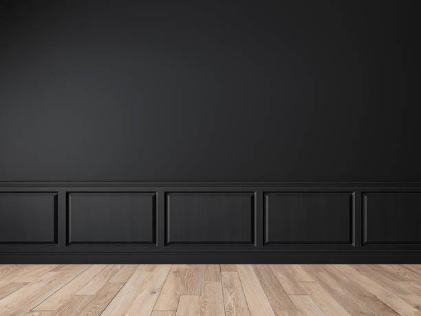 壁パネル、成形、木製の床とモダンな古典的な黒空のインテリア。 - ソファ 無人 ストックフォトと画像
