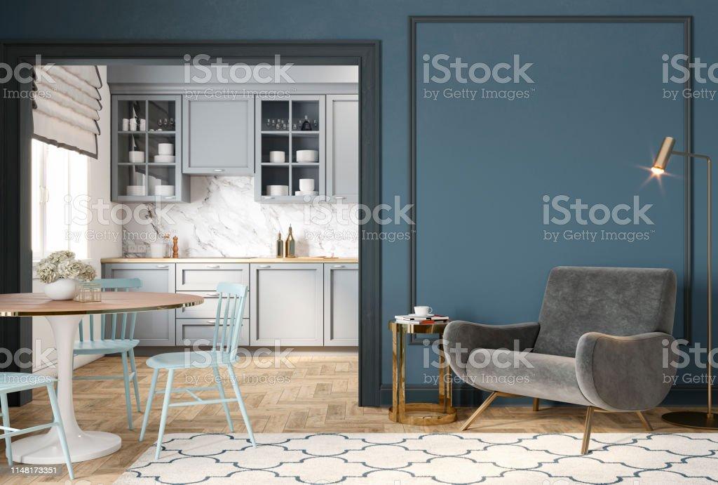 Photo Libre De Droit De Interieur Classique Bleu Gris Moderne Avec