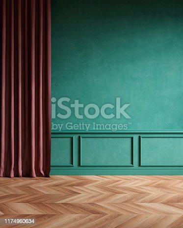 istock Modern classic empty interior with curtain, moldings, wood floor. 3d render illustration mock up. 1174960634