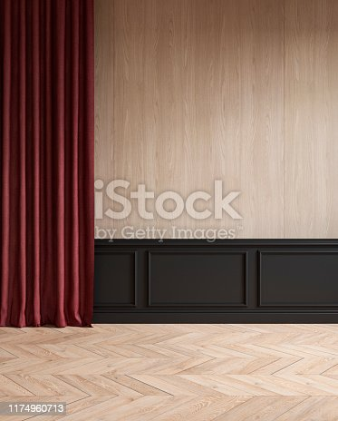 istock Modern classic empty interior with curtain, moldings, wood floor. 3d render illustration mock up. 1174960713