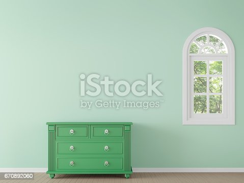 902720222 istock photo Modern classic empty room with green color 3d rendering image 670892060