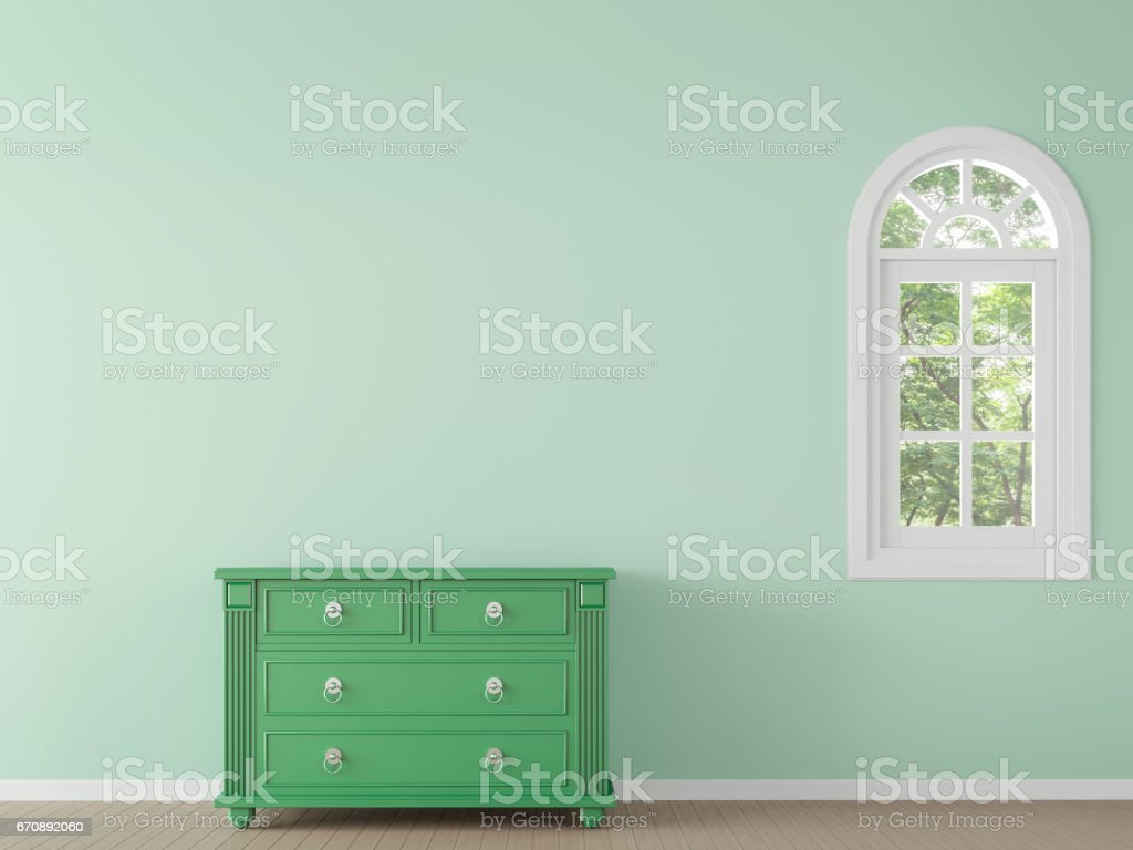 Modern classic empty room with green color 3d rendering image stock photo