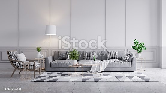 902720222 istock photo Modern classic interior of living room, gray sofa and marble table on white wall panels and concrete wall,3d rendering 1176476723