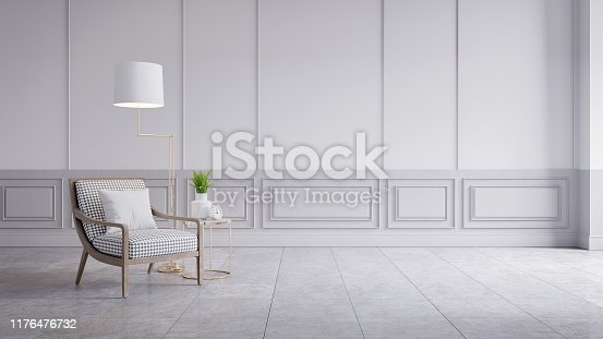 902720222 istock photo Modern classic interior of living room,white armchair on grey wall panels and concrete wall,3d rendering 1176476732