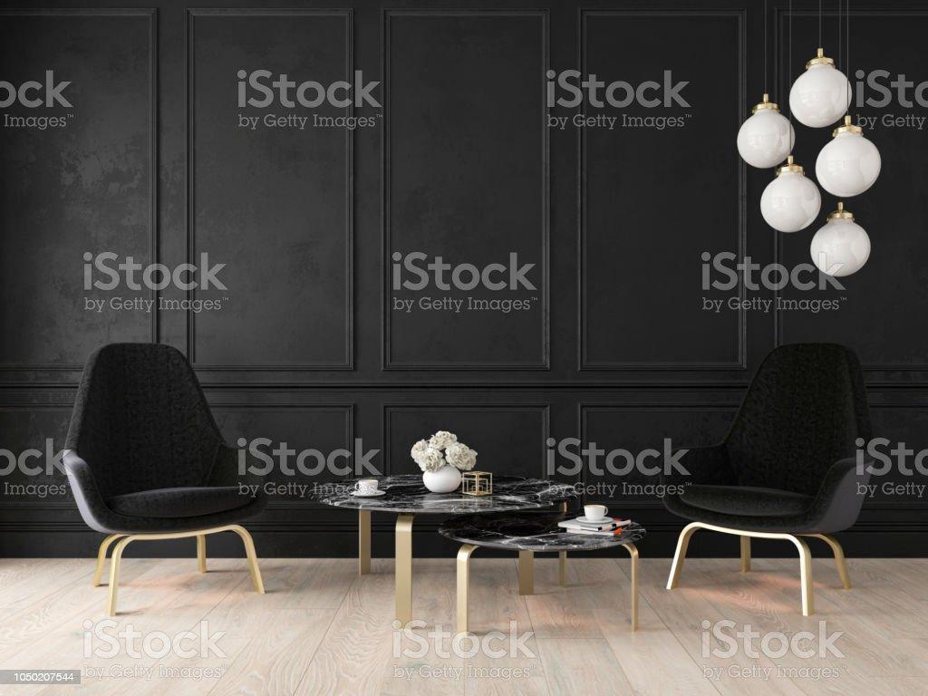 IStockPhoto Libre De Droit De Décoration Classique Moderne Avec Des  Fauteuils Lampe Table Panneaux De Mur Et Plancher En Bois Banque Du0027images  Et Plus ...