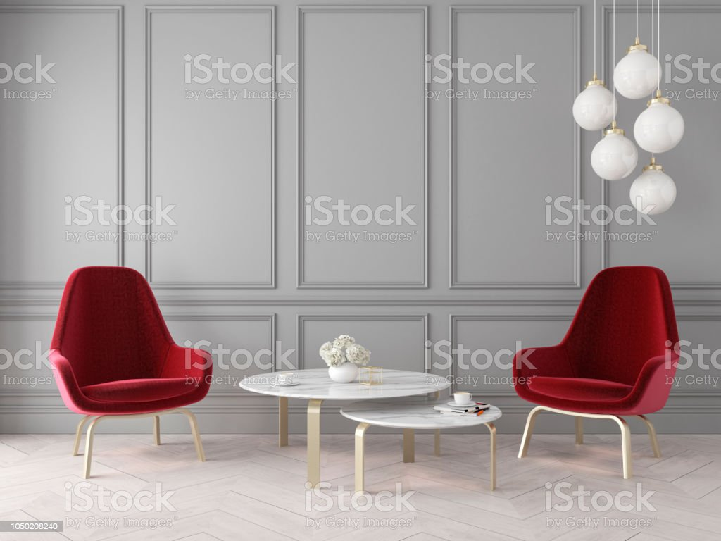 Living Room Designs Indian Style Middle Class, Modern Classic Interior With Armchairs Lamp Table Wall Panels And Wooden Floor Stock Photo Download Image Now Istock