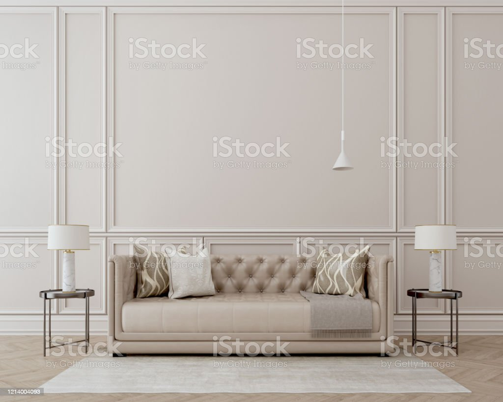 Modern Classic Interiorsofaside Tables With Lampswhite Wall And Wooden Floor With Carpet Stock Photo Download Image Now Istock