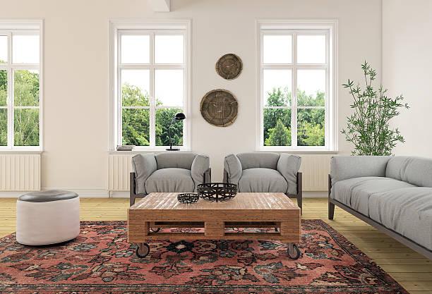 modern classic living room interior - outdoor esszimmer stock-fotos und bilder