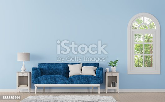 658604764 istock photo Modern classic living room with blue color 3d rendering image 668889444
