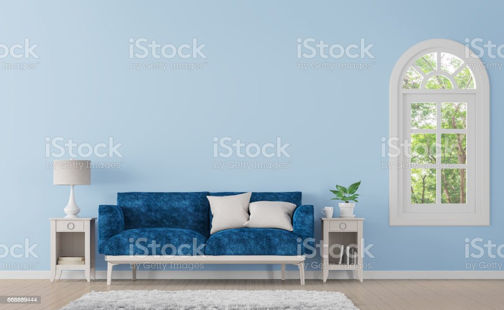 Modern classic living room with blue color 3d rendering image stock photo