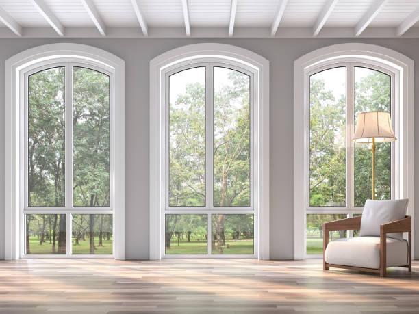 Modernes klassisches Wohnzimmer mit Naturblick 3d render – Foto