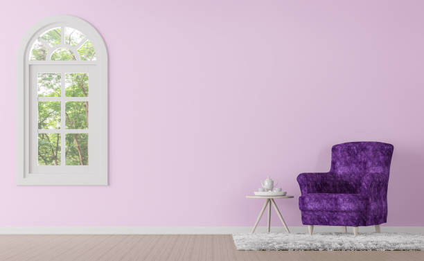 moderne klassische wohnzimmer mit lila und rosa farbe 3d render bild - hellrosa zimmer stock-fotos und bilder