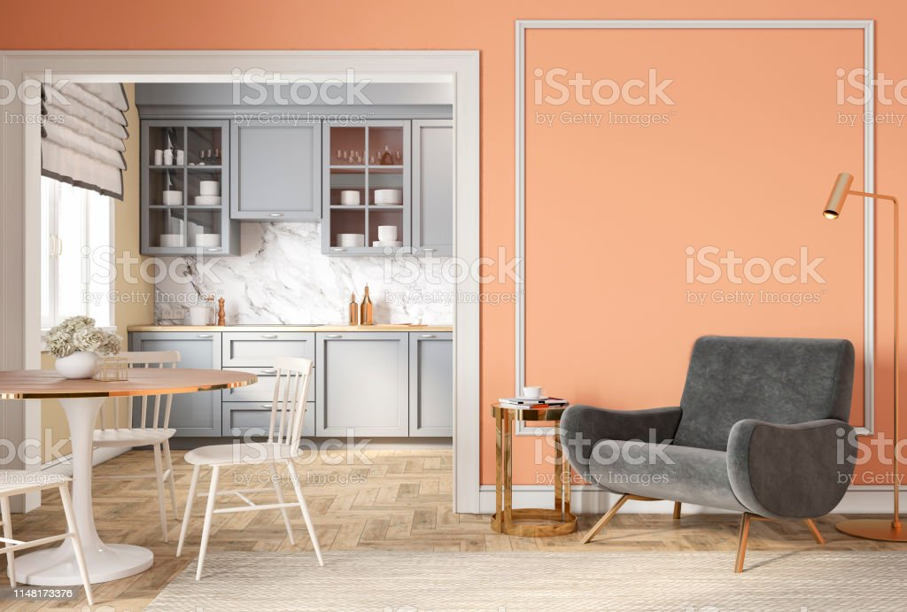 Modern Classic Peach Beige Interior With Lounge Chair Armchair Kitchen Dining Table Carpet Floor Lamp And Mouldings 3d Render Illustration Mock Up Stock Photo Download Image Now Istock