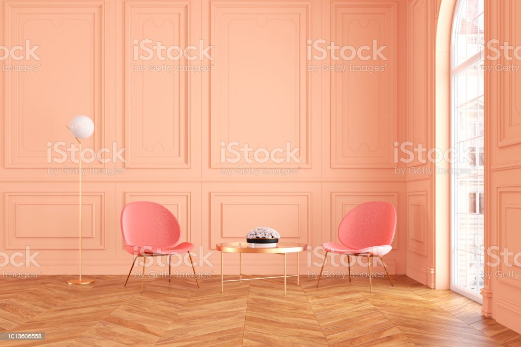 Modern Classic Peach Color Interior With Lounge Armchairs