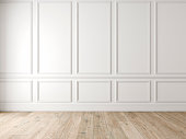 Modern classic white empty interior with wall panels and wooden floor. 3d render illustration mock up.