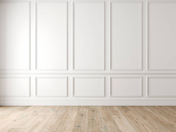 modern classic white empty interior with wall panels and wooden floor. - wall foto e immagini stock