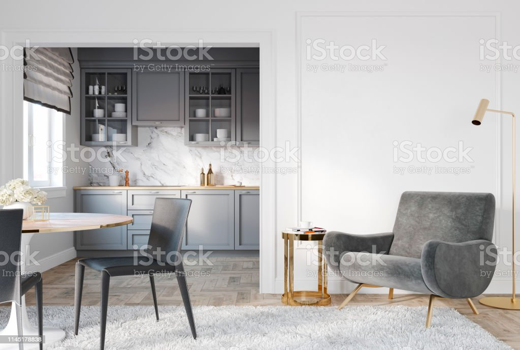 Modern Classic White Gray Interior With Lounge Chair Armchair Kitchen Dining Table Carpet Floor Lamp And Mouldings 3d Render Illustration Mock Up Stock Photo Download Image Now Istock