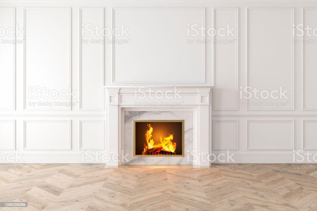Interieur Blanc Classique Moderne Avec Cheminee Panneaux Muraux