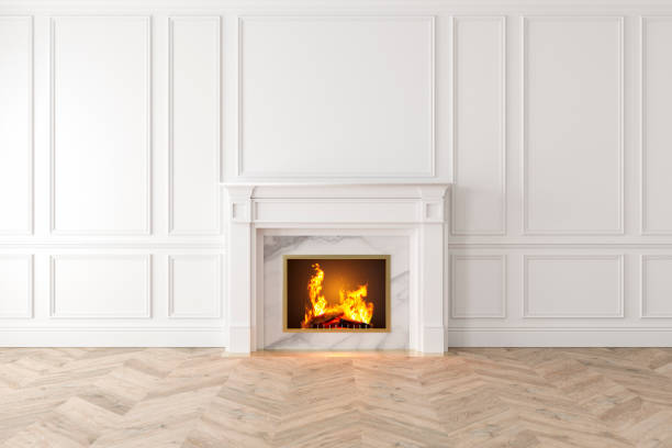 moderne klassische weiße interieur mit kamin, wandpaneele, holzboden. - kamin weiß stock-fotos und bilder
