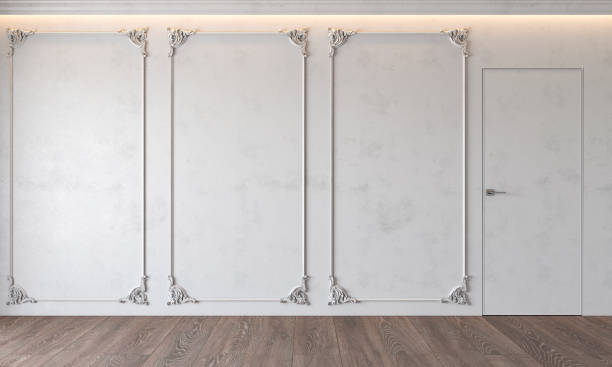 Modern classic white interior with stucco, door, wooden floor, ceiling backlit, molding. Empty room, blank wall. Modern classic white interior with stucco, door, wooden floor, ceiling backlit, molding. Empty room, blank wall. 3d render illustration mock up. plaster ceiling design stock pictures, royalty-free photos & images