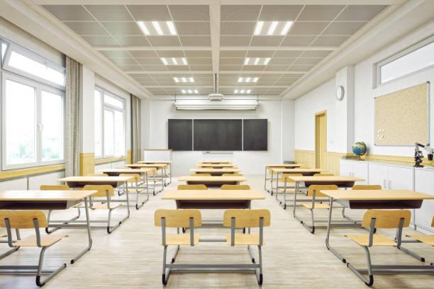 modern classroom interior - aula foto e immagini stock