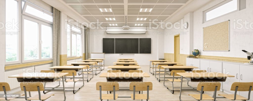 Modern Classroom Interior stock photo
