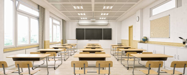 modern classroom interior - classrooms stock pictures, royalty-free photos & images