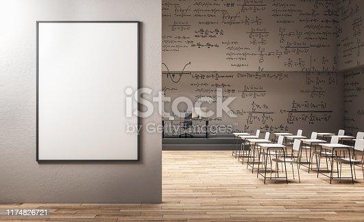istock Modern classroom with billboard 1174826721