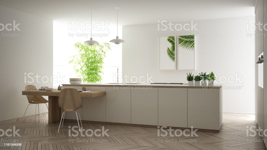 Modern Clean Contemporary White Kitchen Island And Wooden Dining Table With Chairs Bamboo And Potted Plants Big Window And Herringbone Parquet Floor Minimalist Interior Design Stock Photo Download Image Now Istock