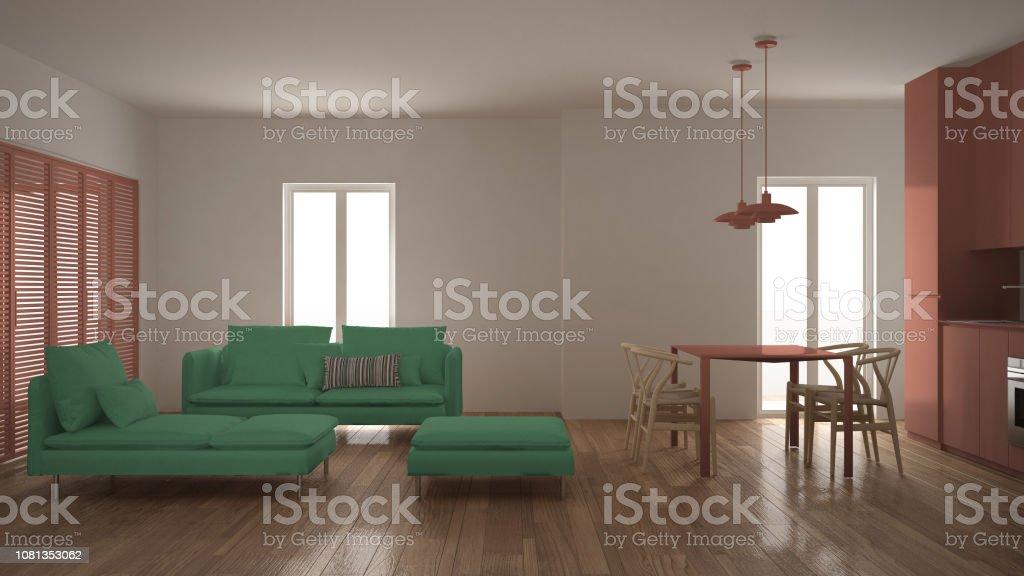 Moderne Saubere Wohnzimmer Mit Küche Und Esstisch Sofa ...