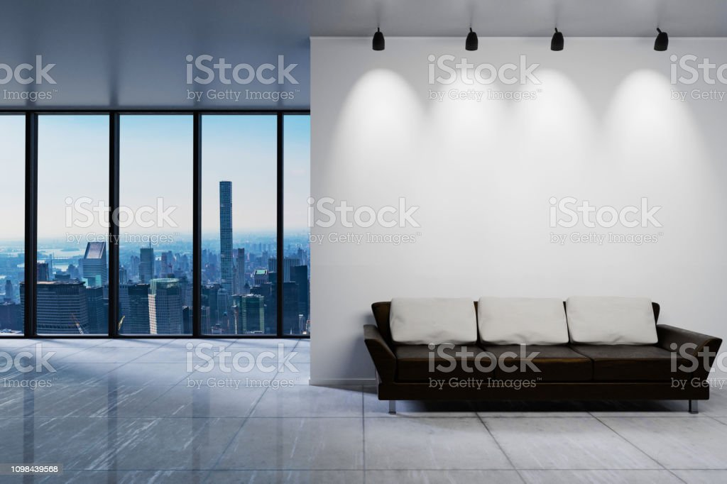 Modern clean office waiting area reception skyline view, wall copy...
