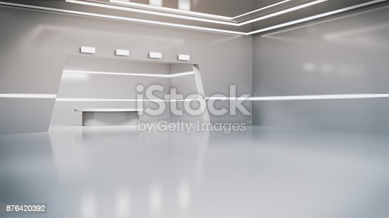istock Modern clean research laboratory,white lab.3d rendering 876420392