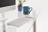 istock Modern clean workspace mockup with blank screen desktop computer. 1172999500