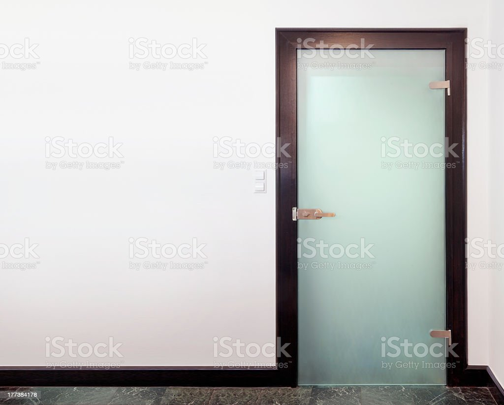 Modern closed glass  door stock photo