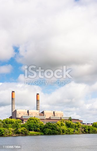 A large coal-fired power station located on the banks of the Waikato River near Huntly in New Zealand.