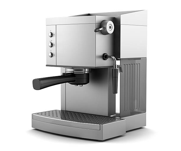 modern coffee machine isolated on white background with clipping path - coffee maker stock pictures, royalty-free photos & images
