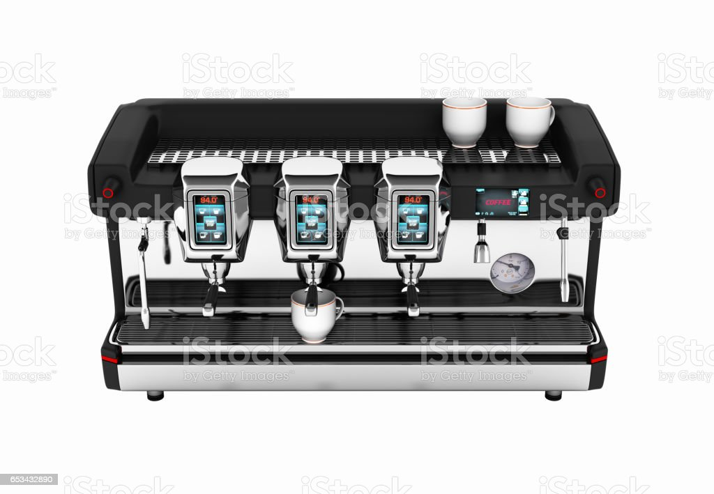 Modern Coffee Machine without shadow on white background 3d stock photo