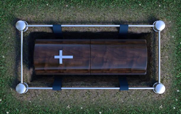 現代棺材進入墳墓 - 下降 個照片及圖片檔