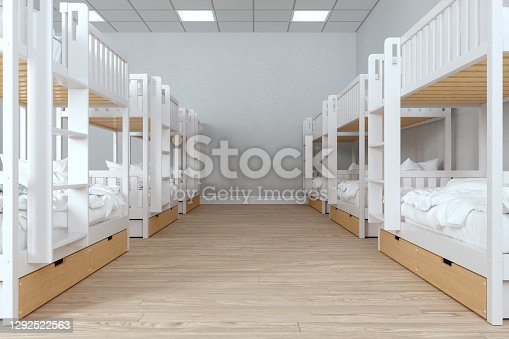 Modern College Dorm Room With Messy Bunk Beds And Parquet Floor.