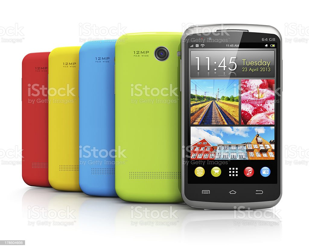Modern color smartphones royalty-free stock photo